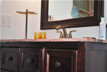 Eastham Cape Cod vacation rental - Updated bathroom with shower & marble countertop and floor