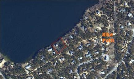 Eastham Cape Cod vacation rental - House outlined in RED, ORANGE arrow bike path