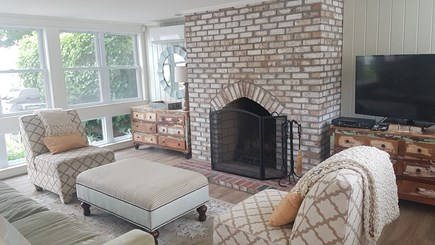 West Harwich Cape Cod vacation rental - Fireplace in spacious living room