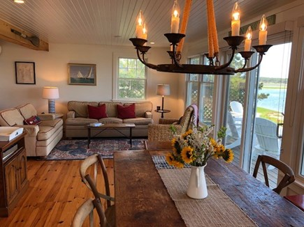 Wellfleet Cape Cod vacation rental - Living Room and Dining Room (seats 10) with Panoramic Waterviews!