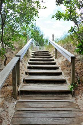 South Yarmouth Cape Cod vacation rental - Stairs leading to small semi private beach