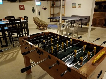 Harwich Cape Cod vacation rental - basement :ping pong, darts, foozball, pub table for cards / games
