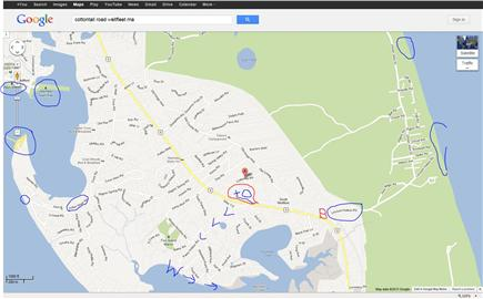 Wellfleet Cape Cod vacation rental - Property circled in red, beaches blue, ''W''alk to Oyster shallow