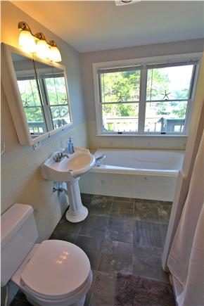 East Orleans Cape Cod vacation rental - Master bath (shower and lg tub) w/ private balcony & water views