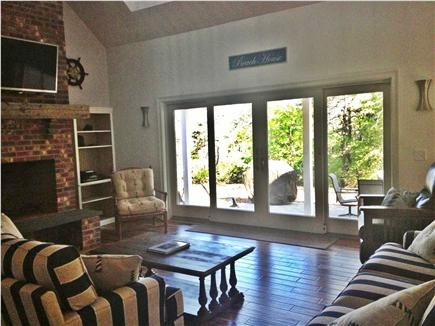 Truro Cape Cod vacation rental - Looking out to the backyard through the 12 foot gliding doors