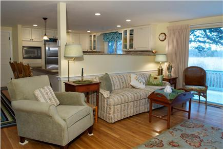 East Dennis Cape Cod vacation rental - Living room area w/marsh views & sliders to the deck