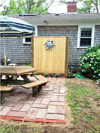 Long Pond, Harwich Cape Cod vacation rental - Custom-built shower - brick patio and outside lighting