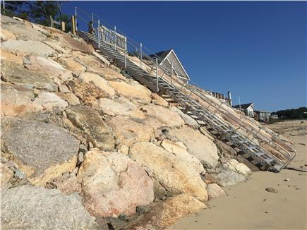 Plymouth MA vacation rental - New seawall and private stairs leading to backyard