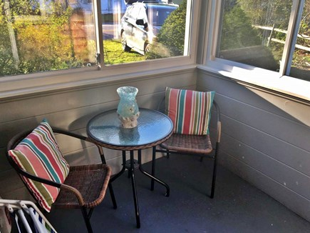Dennisport Cape Cod vacation rental - Peaceful screened in front nook: great for coffee & a book!