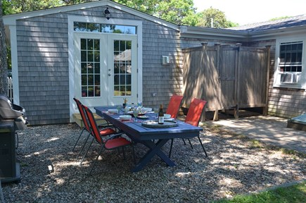 South Yarmouth Cape Cod vacation rental - Patio with enclosed outside shower