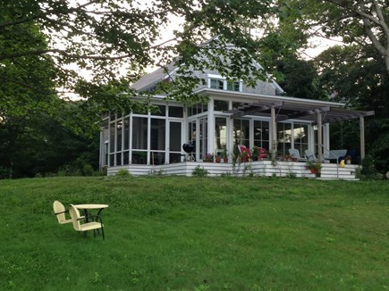 Falmouth, Quissett Cape Cod vacation rental - Exterior facing Garden, Oyster Pond and Ocean