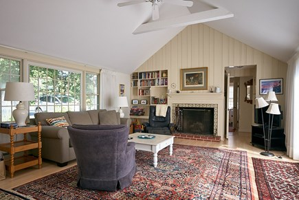West Harwich Cape Cod vacation rental - L.R., cathedral ceiling w/fan, fpl, sliding door to patio