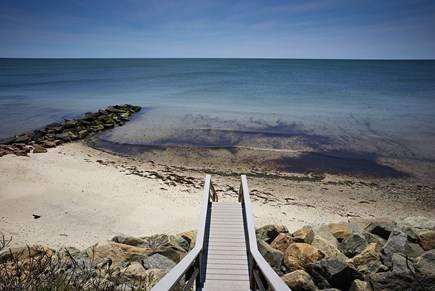 West Harwich Cape Cod vacation rental - Sturdy, well maintained beach stairway with upper seating area