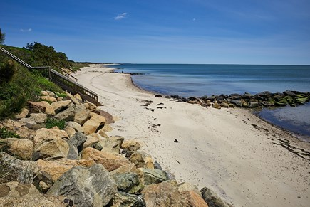 West Harwich Cape Cod vacation rental - View from top of stairs; expanse of beach to walk and see