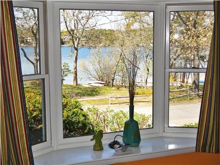 East Harwich Cape Cod vacation rental - Living room bay window shows water views, private beach