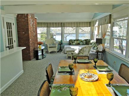 East Harwich Cape Cod vacation rental - Lovely dining area in sun room with water views