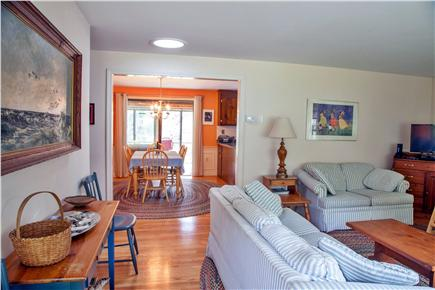 Brewster Cape Cod vacation rental - Living room and dining room from front entrance