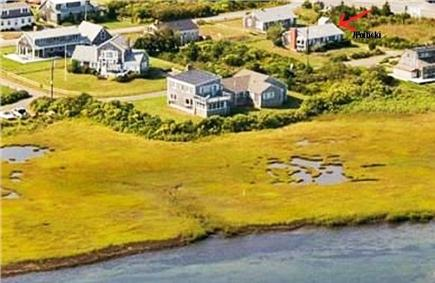 Dennis, 7 Poiticki rd Cape Cod vacation rental - View from the River to house red arrow is the house