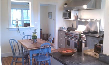 west hyannisport Cape Cod vacation rental - Modern Kitchen Features Wolf Range and SubZero Fridge
