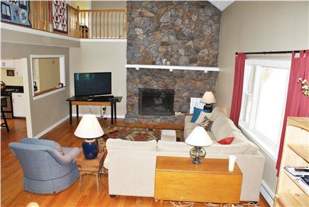 East Sandwich Cape Cod vacation rental - Living Room with spectacular fieldstone fireplace