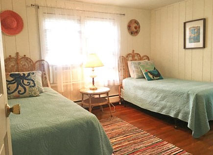 West Harwich Cape Cod vacation rental - Front bedroom with twin beds, closet, A/C and full bath (shower)