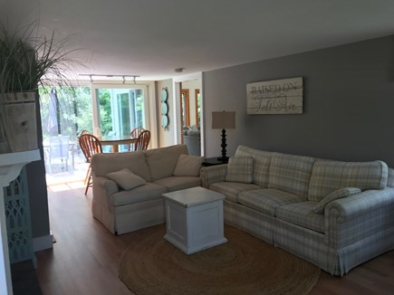 Harwichport Cape Cod vacation rental - Family Room with Fireplace for those cooler nights