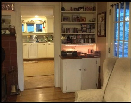 Barnstable Cape Cod vacation rental - Living Rm to Kitchen, Music, Door to screened porch & back deck