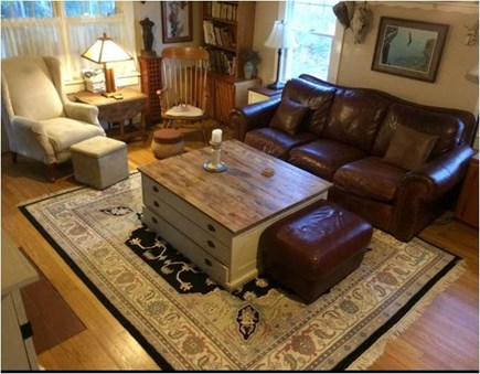 Barnstable Cape Cod vacation rental - Living Rm w/ game table, TV//CD/DVD, flows to 1/2 bath & Den