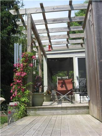 Barnstable Cape Cod vacation rental - Private back deck with outdoor shower.