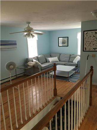 Eastham Cape Cod vacation rental - Upstairs den with bookcase, large tv, Wii, DVDs and work desk