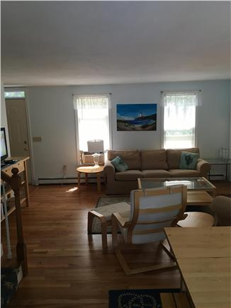Eastham Cape Cod vacation rental - Living room area with wood fireplace