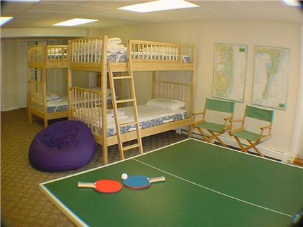 East Orleans Cape Cod vacation rental - Kid's bunk room with TV, games, dartboard and ping pong table!