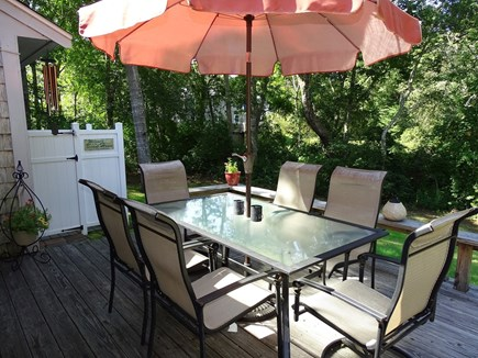 West Yarmouth Cape Cod vacation rental - Deck area with gas grill, seating – our favorite place for meals