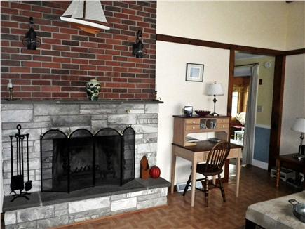 Eastham Cape Cod vacation rental - Living room marble fireplace