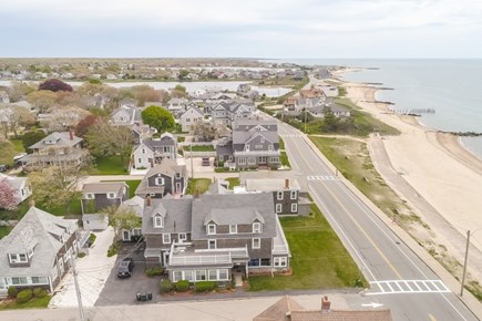 Falmouth Cape Cod vacation rental - Drone view showing the house and the distance to the beach
