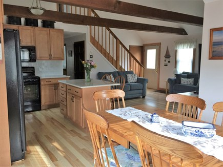 Eastham Cape Cod vacation rental - Downstairs open area with cathedral ceiling & new hardwood floors