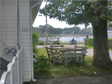 Onset on Water Street Inlet MA vacation rental - BBQ & Dine at Picnic Table in Garden with Western Water View