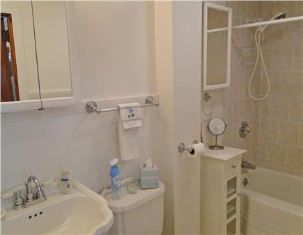 Onset on Water Street Inlet MA vacation rental - Downstairs Full Bathroom w/ Tiled Bath/Shower combo & Storage
