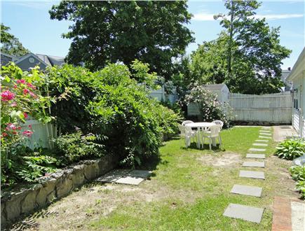 Onset on Water Street Inlet MA vacation rental - BBQ, Play, Relax in lovely Rearyard Garden w/ Henhouse & adj. Pkg