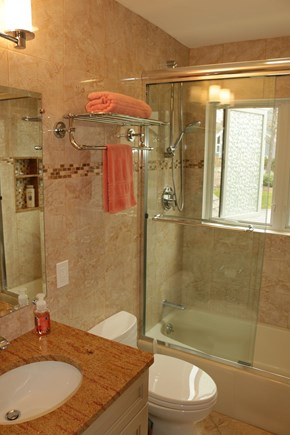 Brewster Cape Cod vacation rental - Guest Bathroom with bathtub and shower