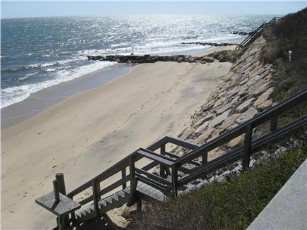 Dennisport Cape Cod vacation rental - Stairs leading down to private beach