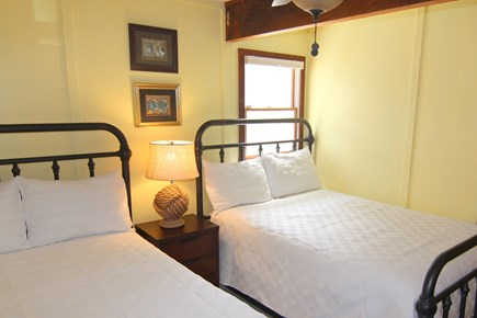 Truro Cape Cod vacation rental - Bedroom 4 - First Floor With Two Double Beds & Ceiling Fan
