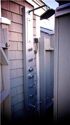 Bay side of Dennis Cape Cod vacation rental - European Water Panel in outdoor shower