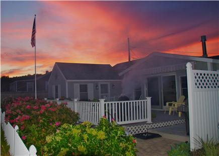 Bay side of Dennis Cape Cod vacation rental - Cottage and storage shed on left