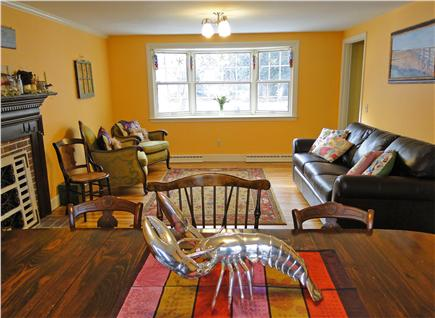 Yarmouth Port Cape Cod vacation rental - Living area with slider to deck and bay window