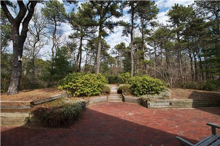 South Orleans Cape Cod vacation rental - View looking out from the patio to the paths around to the Gazebo