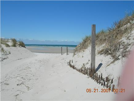 Dennisport Cape Cod vacation rental - Beach at end of short stroll on a sandy road - no pass required