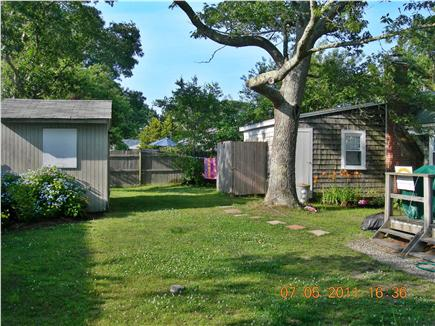 Dennisport Cape Cod vacation rental - Pvt back yard w 4x8 Outside shower, Fire Pit, and Horseshoes