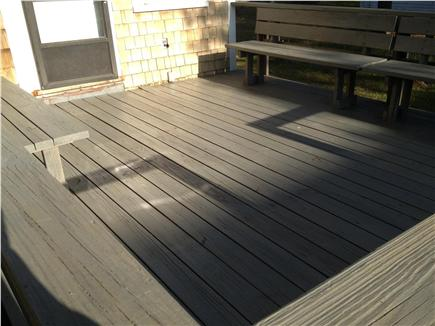 Dennisport Cape Cod vacation rental - Deck with built in seating and large table