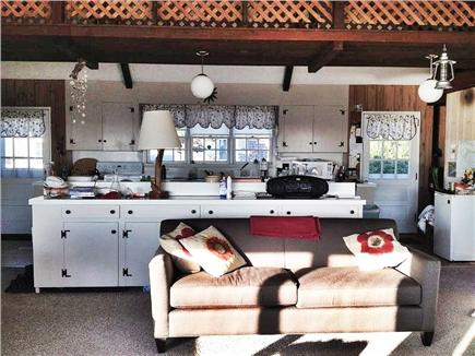 North Truro Cape Cod vacation rental - Large kitchen/living/dining space with water views.